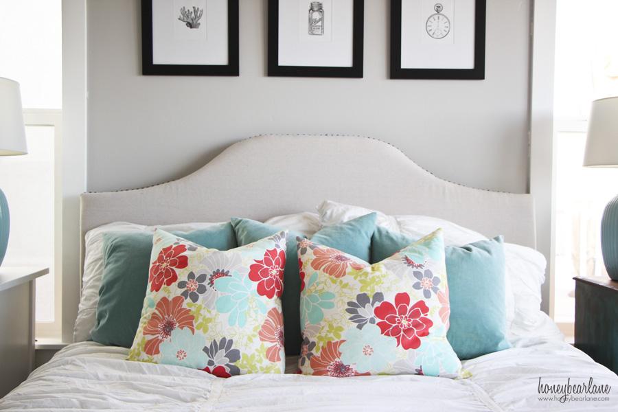 aqua and coral bedroom