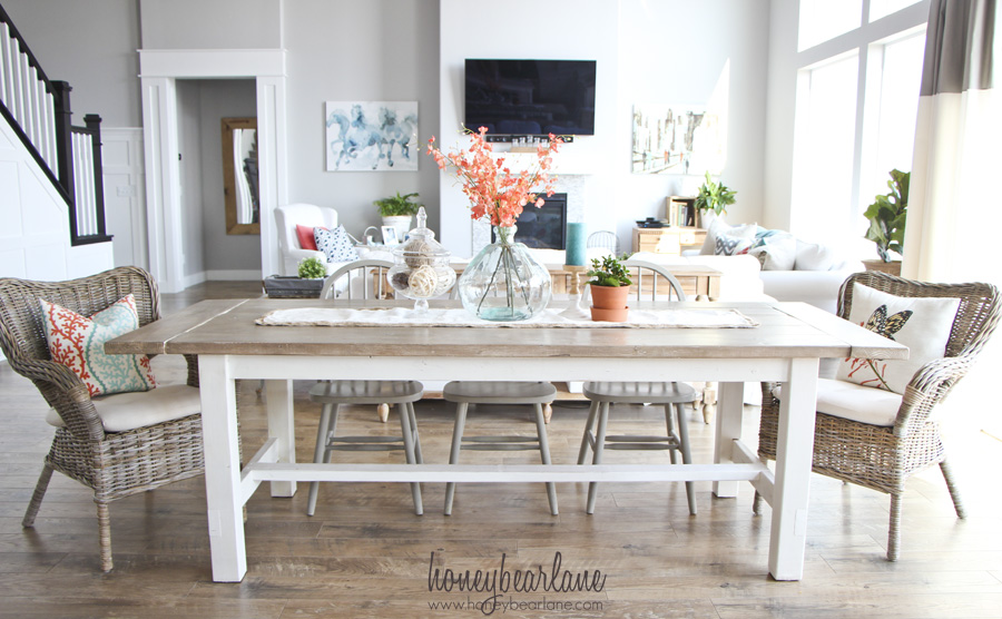 diy farmhouse table and bench honeybear lane rh honeybearlane com Real Wood Dining Room Sets Whitewash Farmhouse Dining Room Table