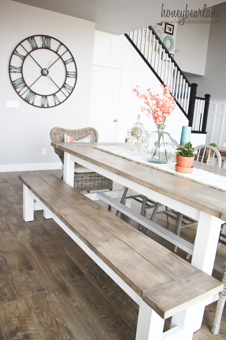 Farmhouse diy home decor ideas the 36th avenue for Dining room table with bench