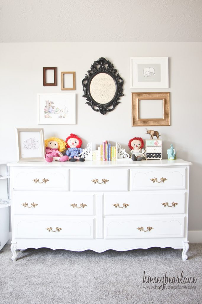 gold and white dresser