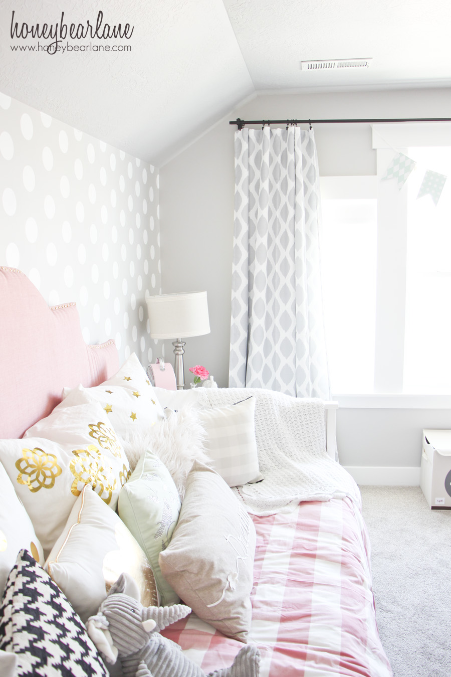 Pink and Gray Girl\'s Bedroom - Honeybear Lane