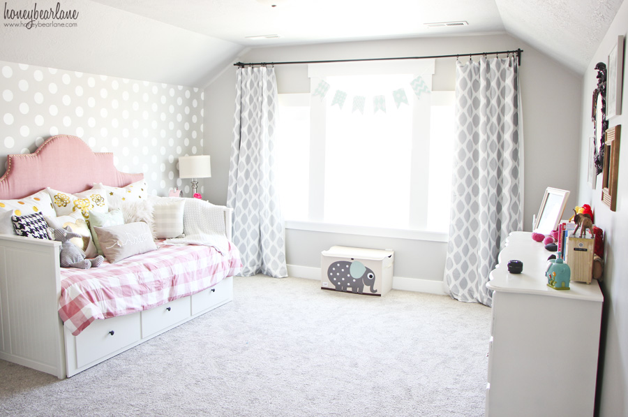 Pink And Gray Girl S Bedroom Honeybear Lane