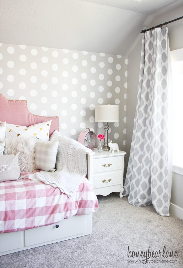 Pink and gray girl 39 s bedroom honeybear lane - Images of girls bedroom ...