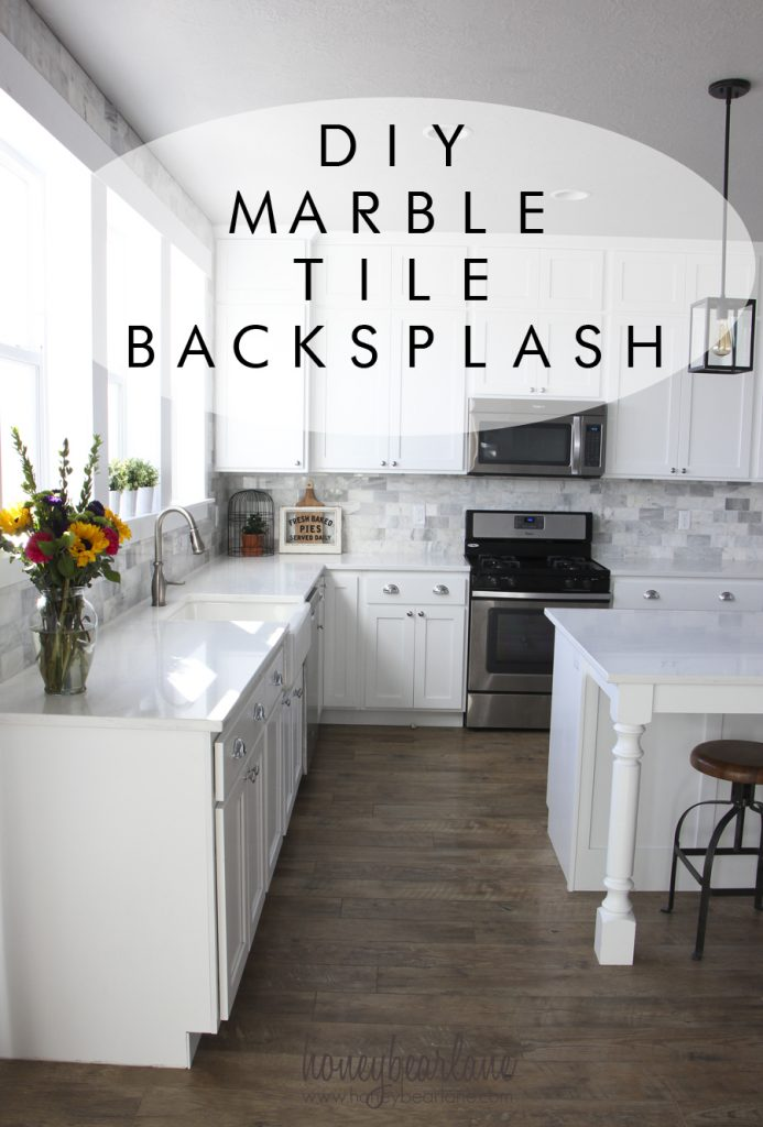 my diy marble backsplash honeybear lane diy weekend project give your kitchen a makeover with a