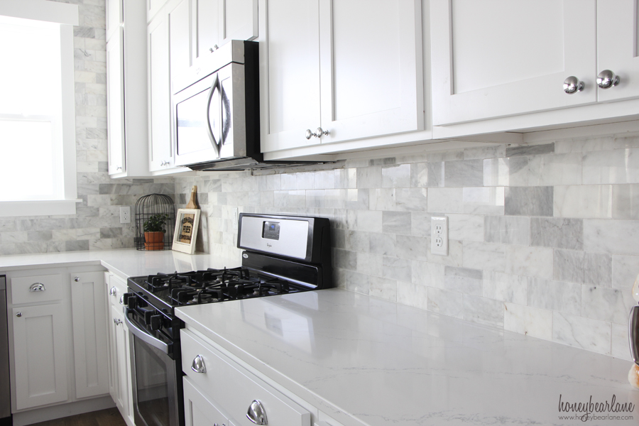 Kitchen Backsplash With Tile And Listello