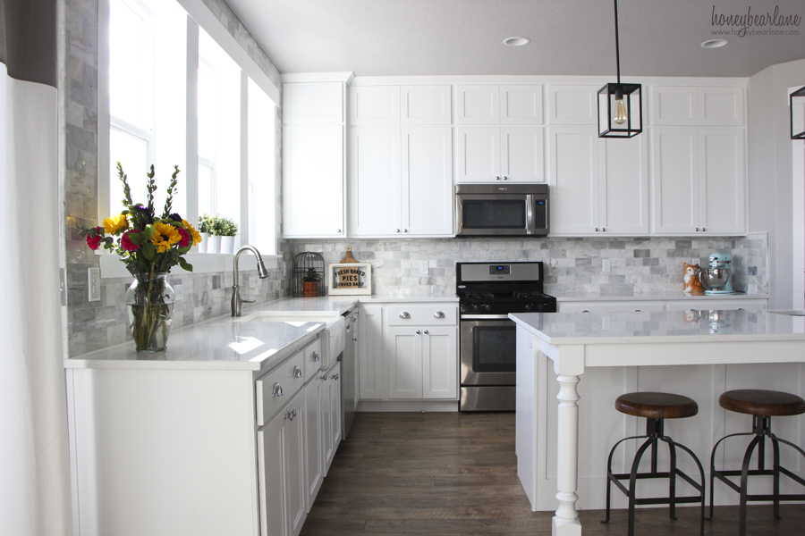 White Subway Tile Black X Kitchen