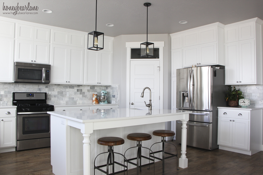 Modern Kitchen White Cabinets White Backsplash