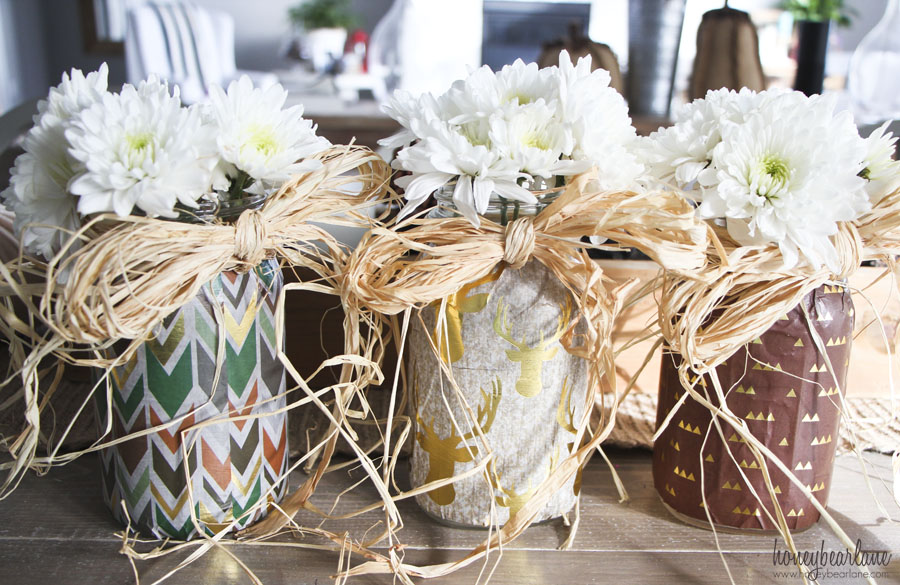 decoupaged mason jars