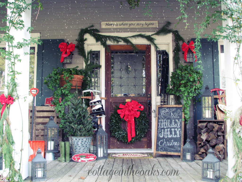 farmhouse christmas porch - Christmas Porch Decor