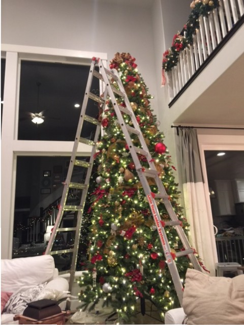 Decorating a 12 Ft Christmas Tree