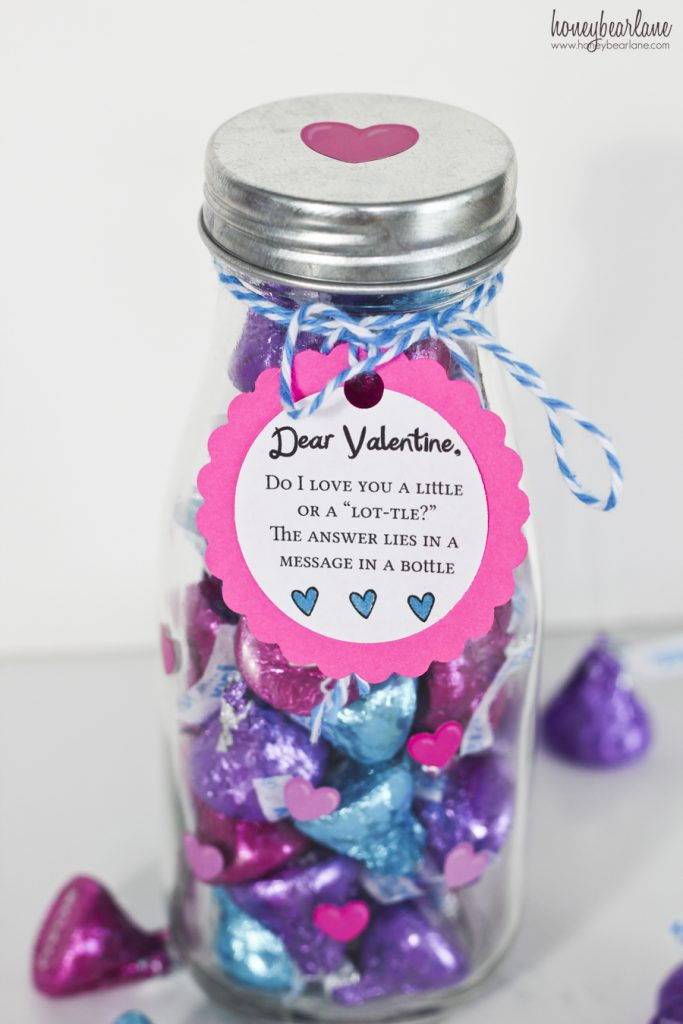 Hershey kisses message in a bottle valentine