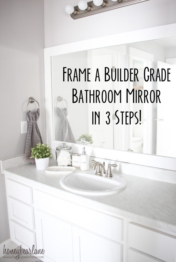 framing builder grade bathroom mirror a cozy farmhouse bathroom update page 5 of 6 honeybear 23212 | frame a builder grade mirror 688x1024