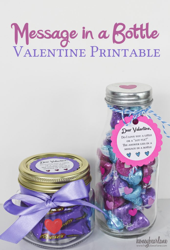 message in a bottle valentine printable