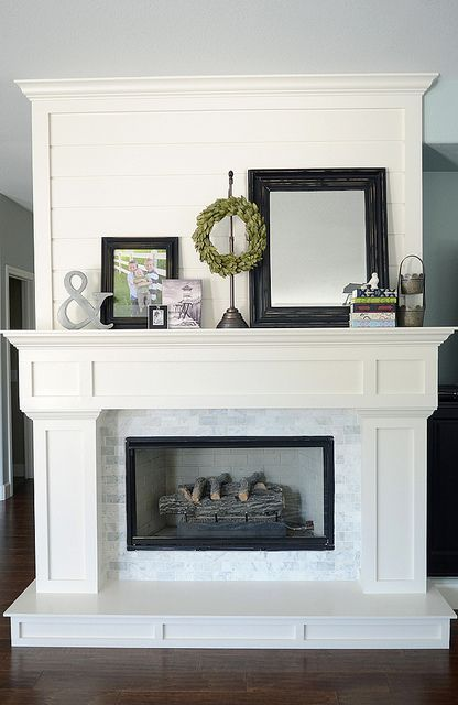 white mantel with hearth