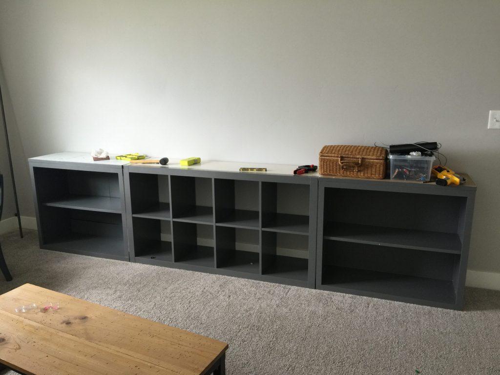 ikea hack expedit into long storage unit honeybear lane. Black Bedroom Furniture Sets. Home Design Ideas
