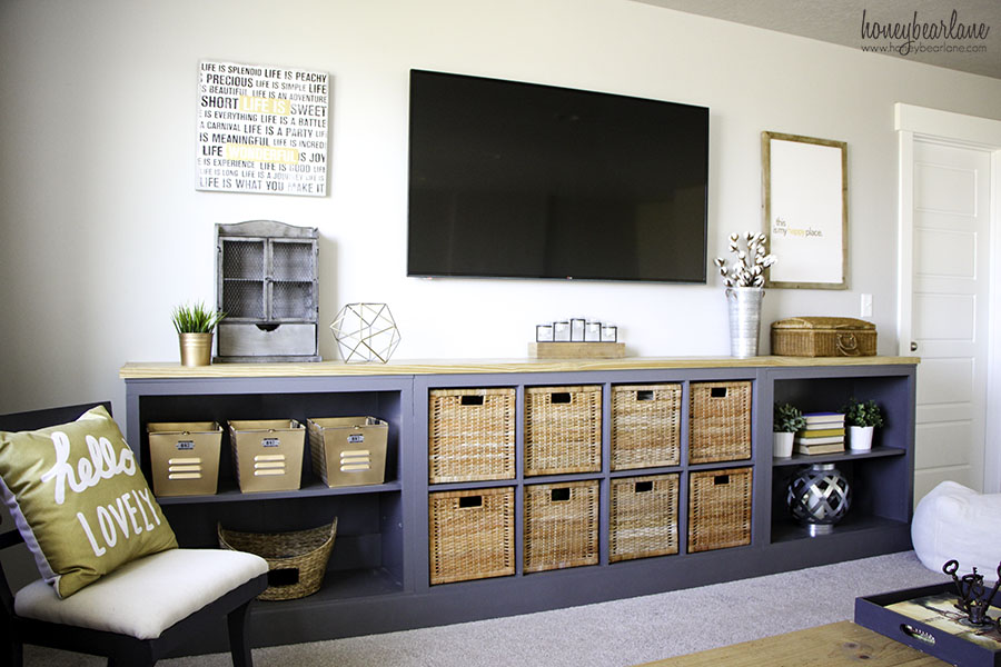 ikea hack expedit into long storage unit honeybear lane. Black Bedroom Furniture Sets. Home Design Ideas