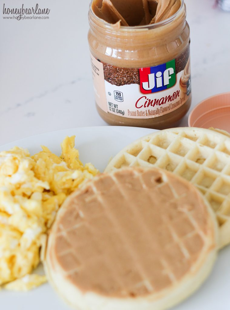 peanut butter on waffles- breakfast ideas