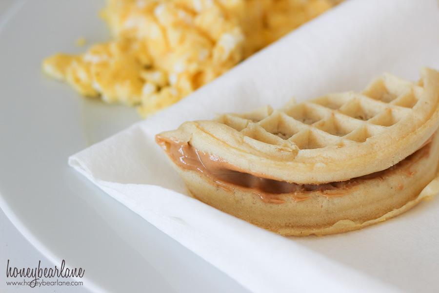 waffle peanut butter sandwich