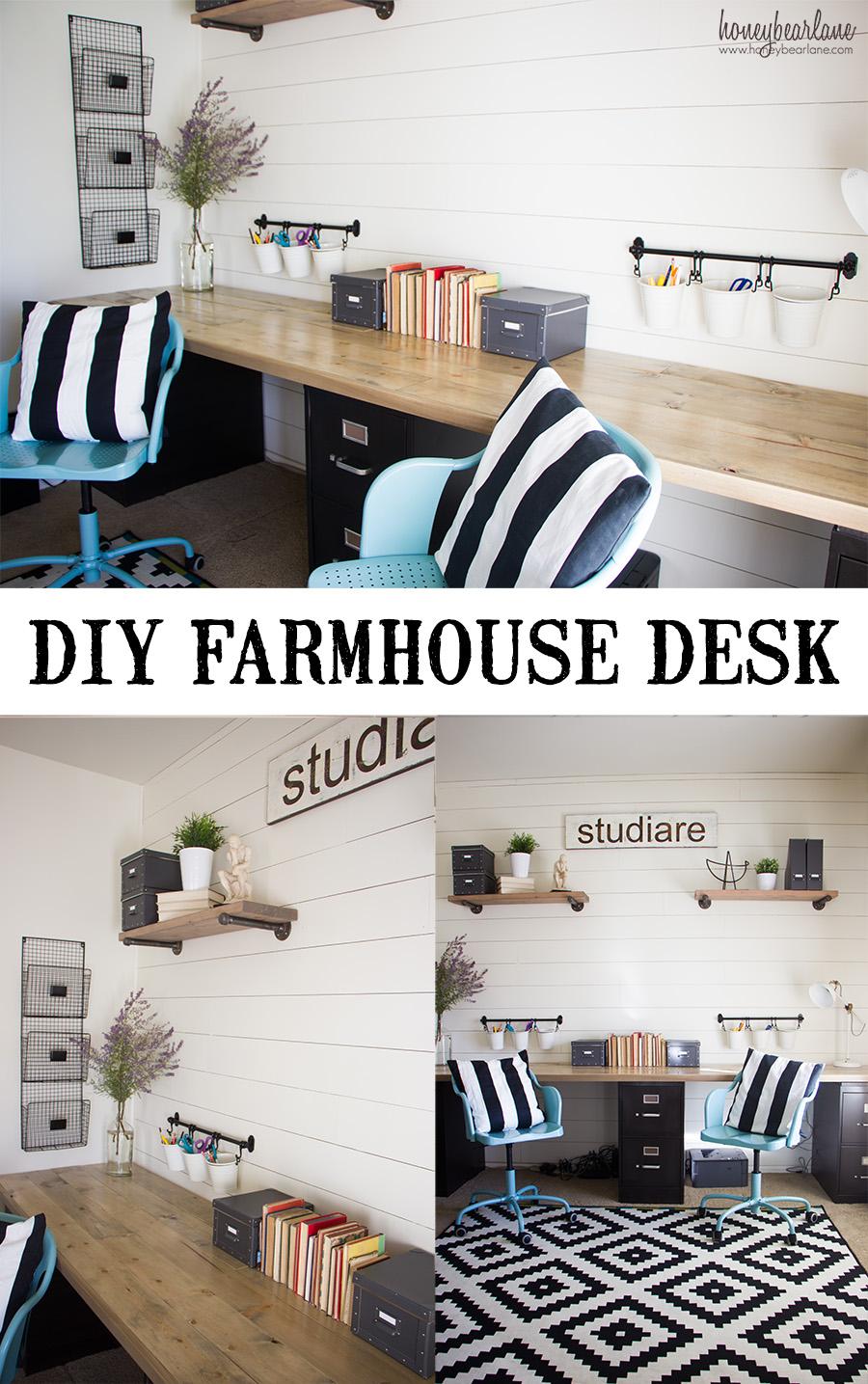 Office Desk Diy: DIY Industrial Farmhouse Desk