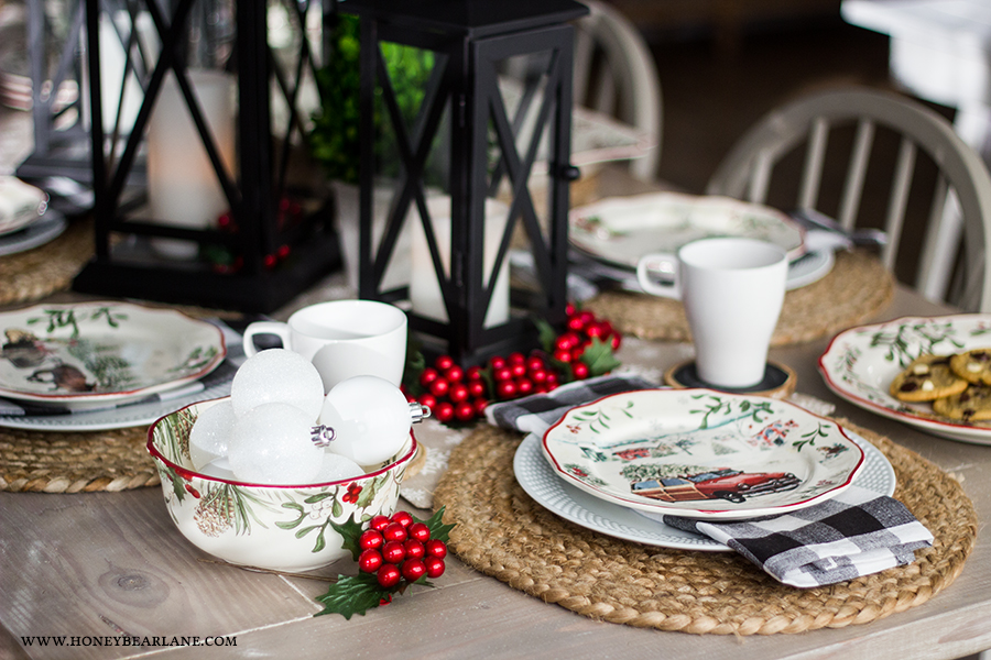 vintage-christmas-table & Vintage Christmas Table Setting - Honeybear Lane