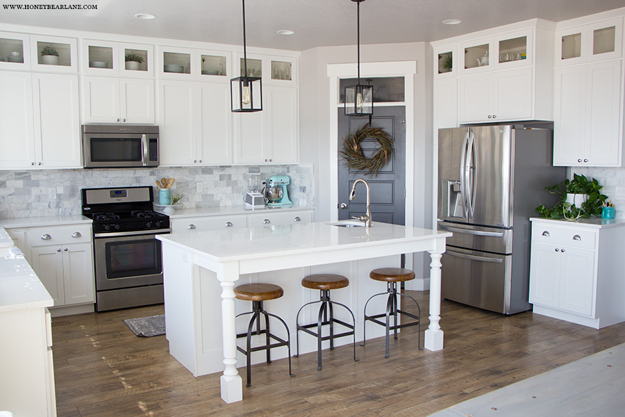 How to add glass to cabinet doors honeybear lane but the glass doors make the kitchen feel taller and more open plus its so much easier now to know what is in the cabinet planetlyrics Gallery
