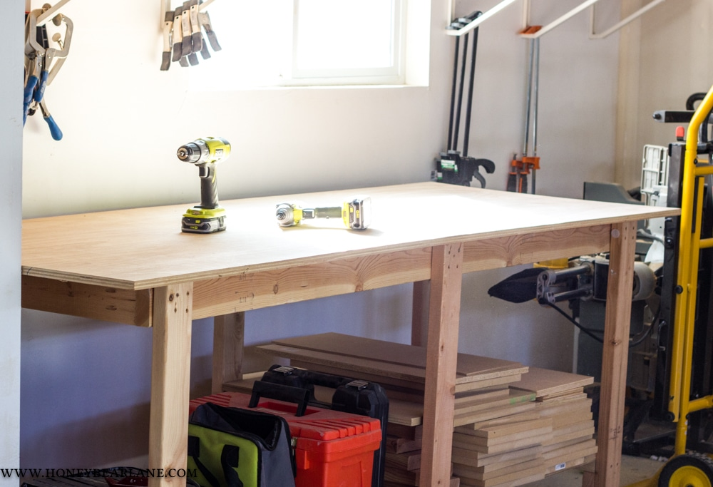Two Hour Diy Workbench Free Plans Honeybear Lane
