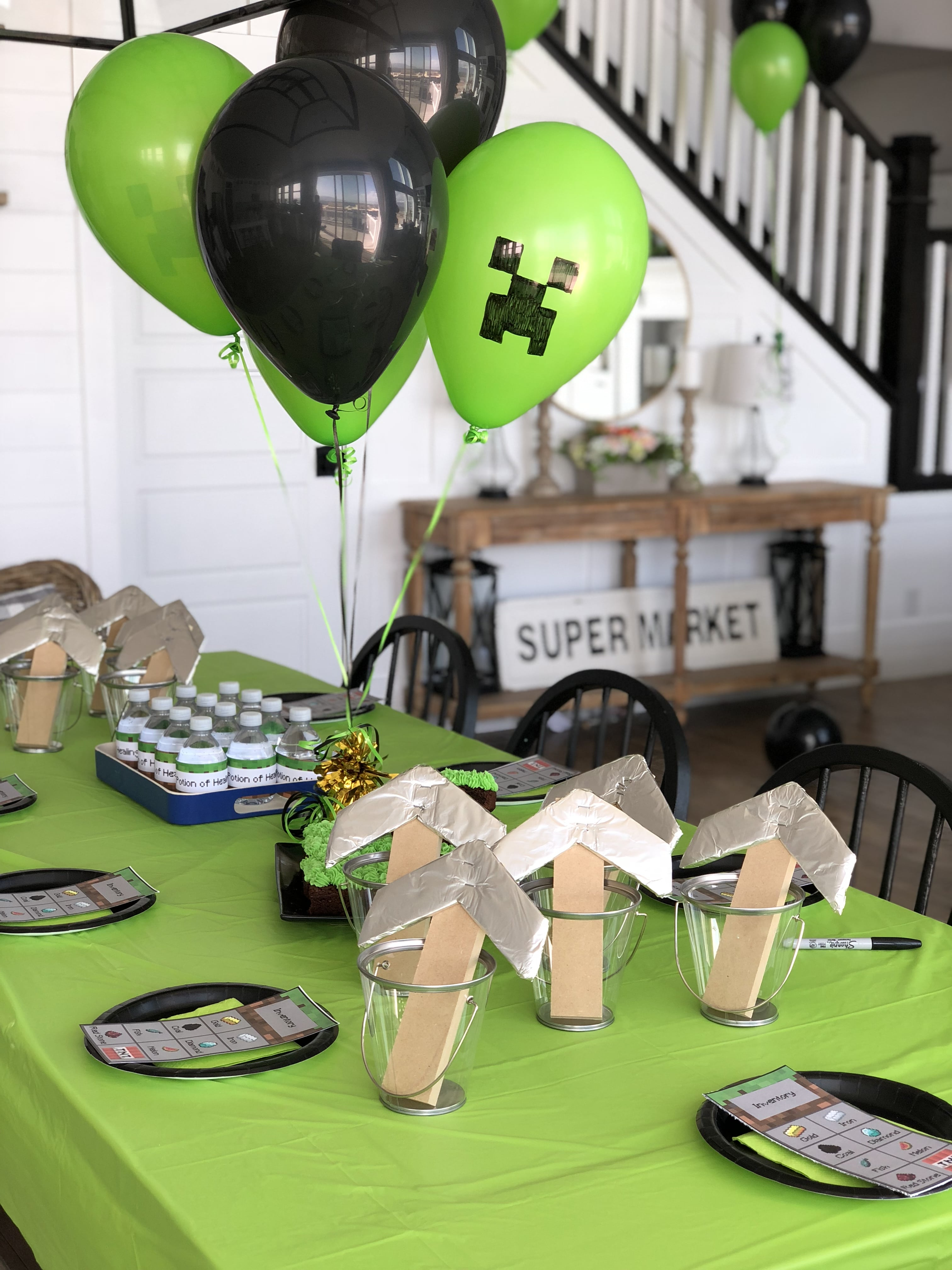photograph regarding Minecraft Party Ideas Printable named Minecraft Birthday Social gathering with Totally free Printables - Honeybear Lane