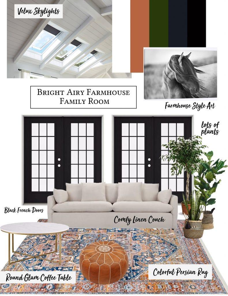 Bright Airy Family Room Design - Honeybear Lane